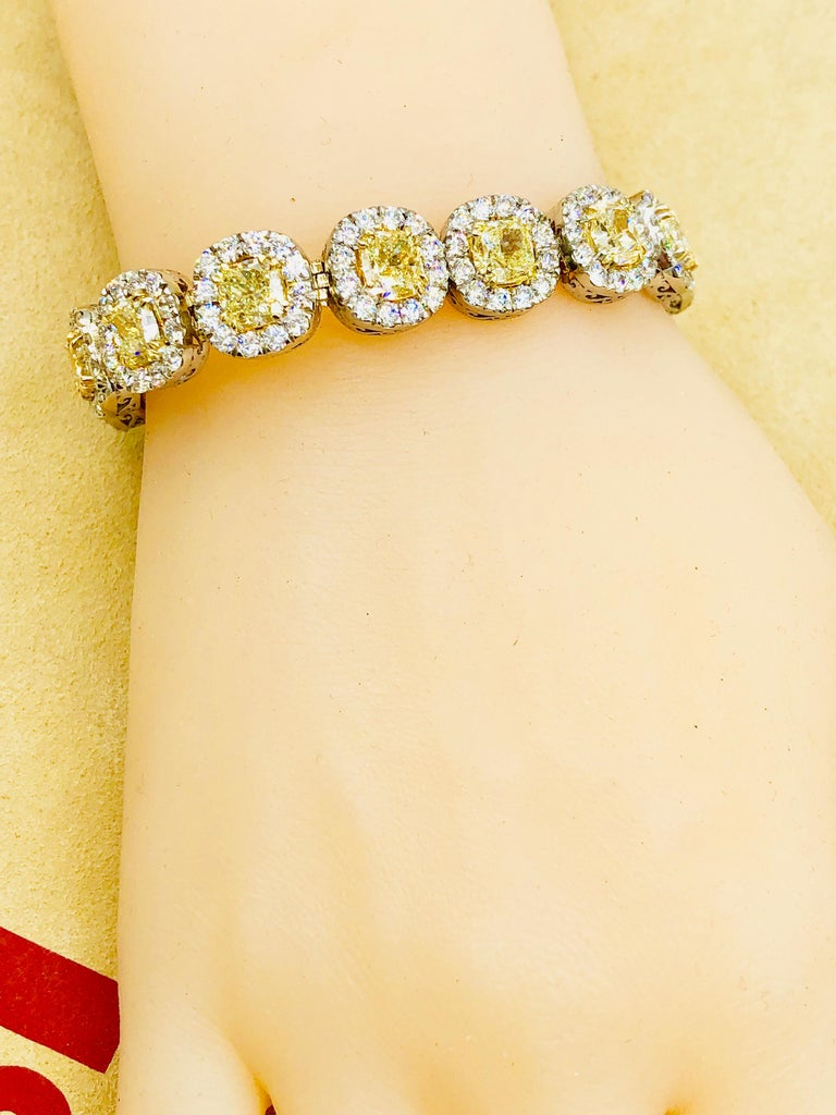 Emilio Jewelry 32.78 Carat Yellow Diamond Bracelet 6