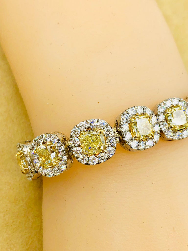 Emilio Jewelry 32.78 Carat Yellow Diamond Bracelet 7