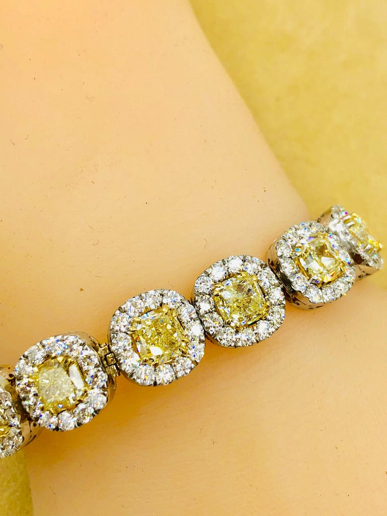 Emilio Jewelry 32.78 Carat Yellow Diamond Bracelet 8