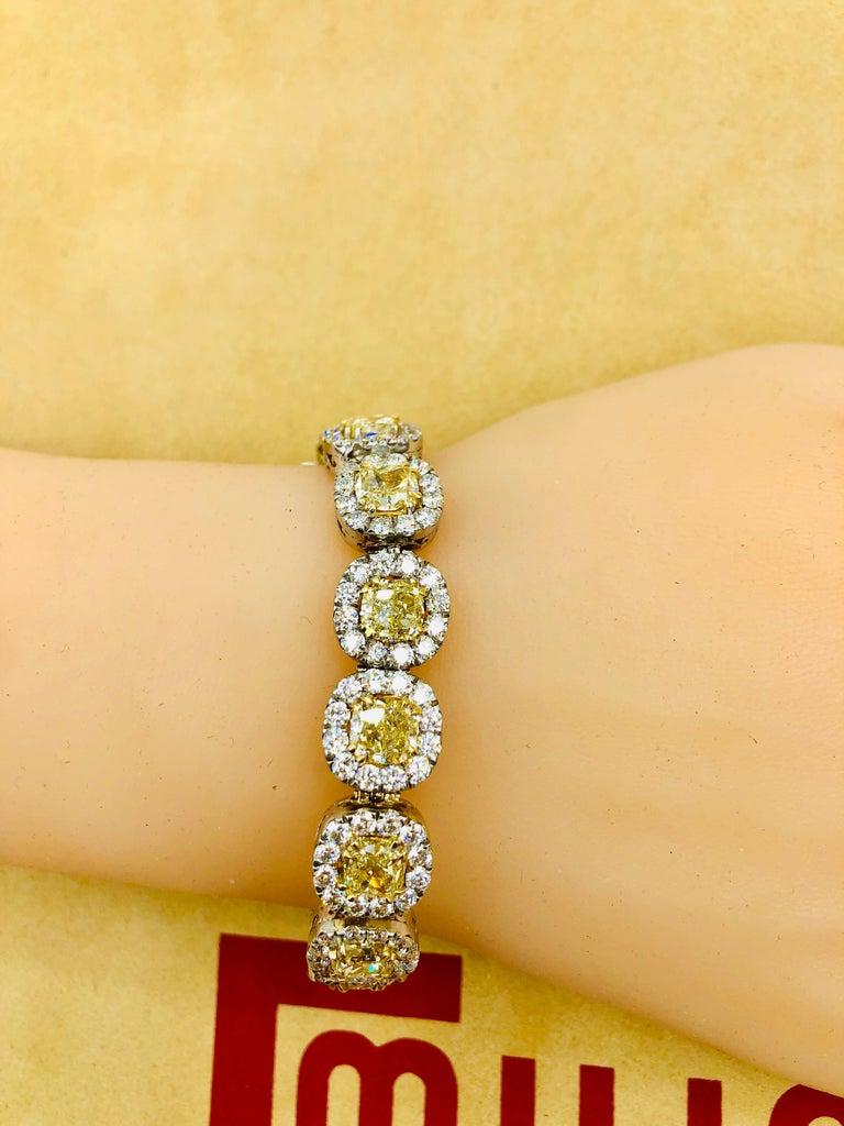 Emilio Jewelry 32.78 Carat Yellow Diamond Bracelet 4