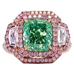 Emilio Jewelry 3.30 Carat GIA Certified Fancy Green Yellow Diamond Ring