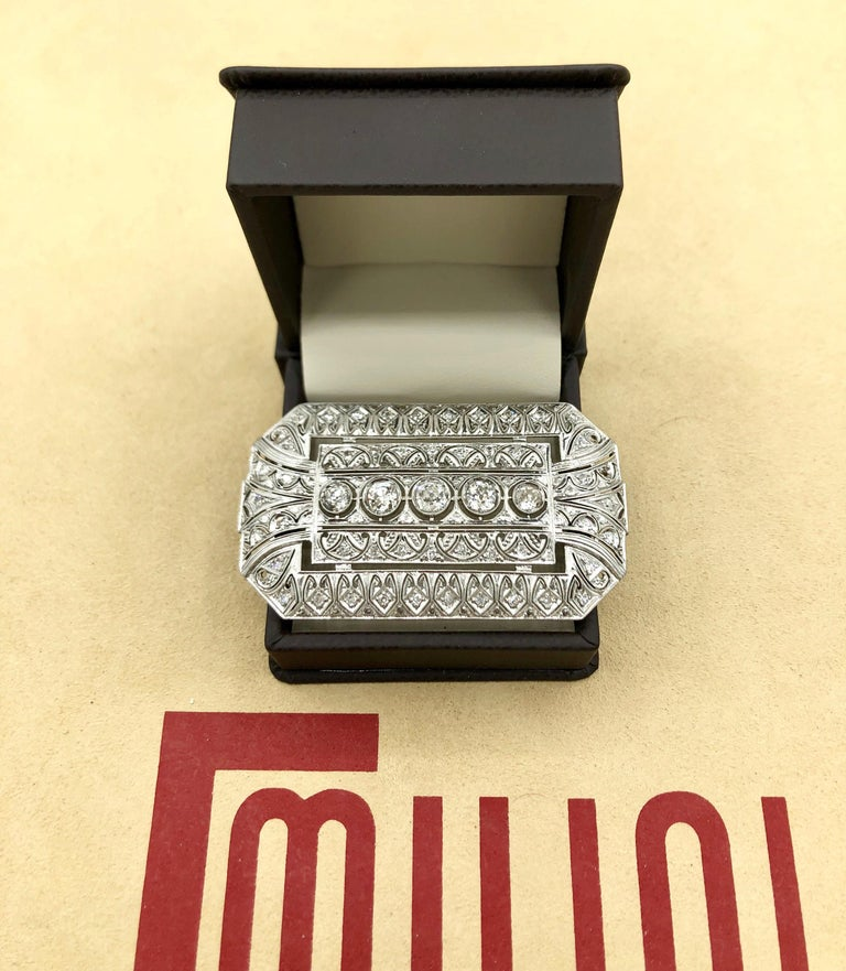 Emilio Jewelry 3.40 Carat Platinum Diamond Brooch In New Condition For Sale In New York, NY