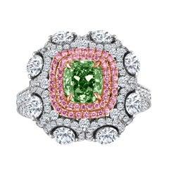 Emilio Jewelry 3.49 Carat GIA Certified Natural Green Diamond Ring