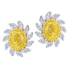 Emilio Jewelry 3.50 Carat Yellow Diamond Earrings