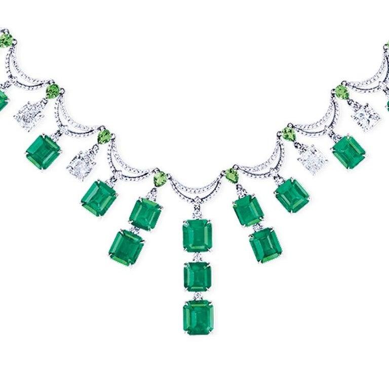 Emerald Cut Emilio Jewelry 36 Carat Colombian Emerald Muzo Color Necklace For Sale
