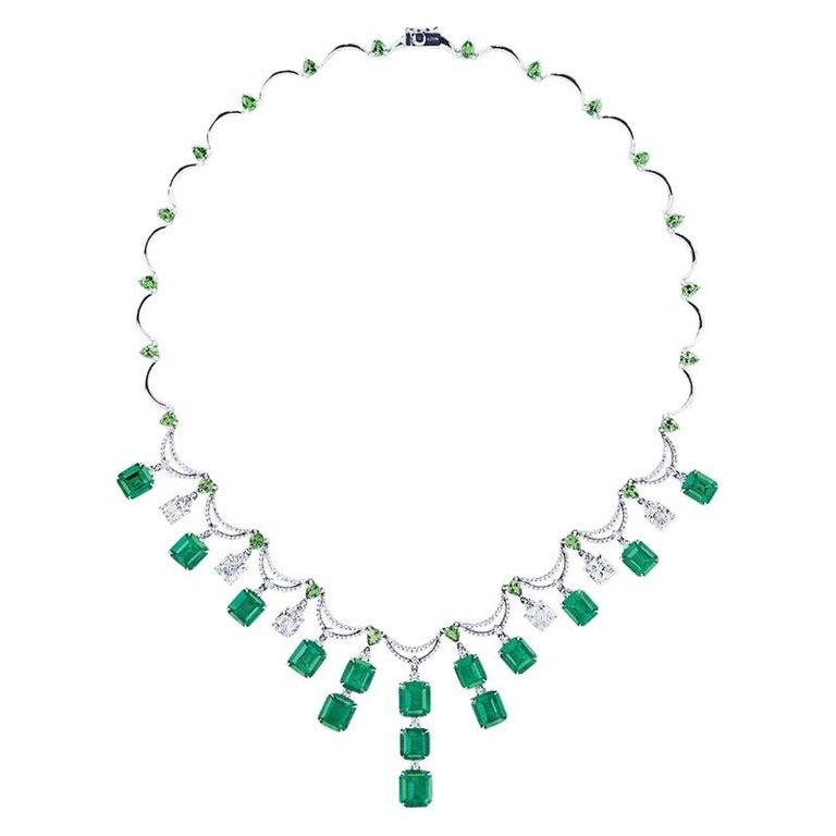 Emilio Jewelry 36 Carat Colombian Emerald Muzo Color Necklace For Sale