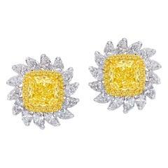 Emilio Jewelry 3.60 Carat Cushion Yellow Diamond Earrings
