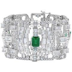 Emilio Jewelry 36.00 Carat Certified Emerald Diamond Bracelet