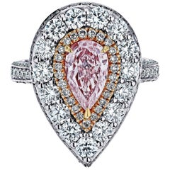 Emilio Jewelry 3.81 Carat GIA Certified Natural Fancy Pink Diamond Ring Pendant