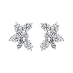 Emilio Jewelry 3.89 Carat Fancy Cut Diamond Earrings