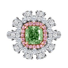 Emilio Jewelry 3.91 Carat GIA Certified Natural Green Diamond Ring