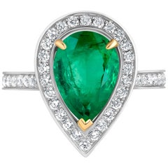 Emilio Jewelry 3.93 Carat Emerald Diamond Ring