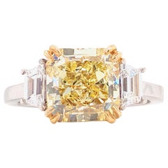 Emilio Jewelry 4.18 Carat GIA Certified Yellow Diamond Ring