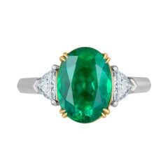 Emilio Jewelry 4.18 Carat Oval Emerald Diamond Ring