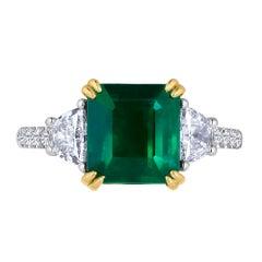 Emilio Jewelry 4.23 Carat Genuine Certified Emerald Diamond Platinum Ring