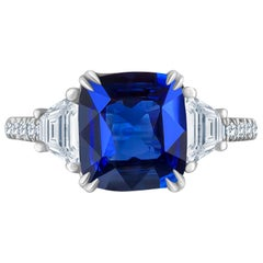 Emilio Jewelry 4.24 Carat Vivid Blue Sapphire Diamond Ring