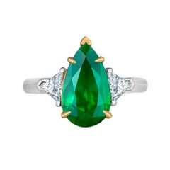 Emilio Jewelry 4.40 Carat Colombian Pear Shape Emerald Diamond Ring