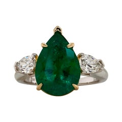 Emilio Jewelry 4.51 Carat Certified Vivid Green Colombian Emerald Ring