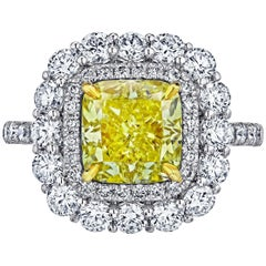 Emilio Jewelry 4.85 Carat GIA Certified Natural Fancy Yellow Diamond Ring