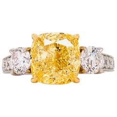 Emilio Jewelry 4.91 Carat GIA Certified Fancy Yellow Diamond Ring