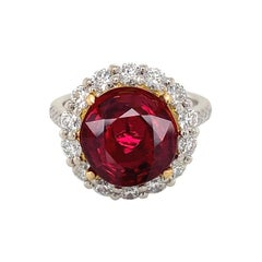 Emilio Jewelry 5.00 Carat Certified Pigeon Blood Vivid Red Ruby Diamond Ring