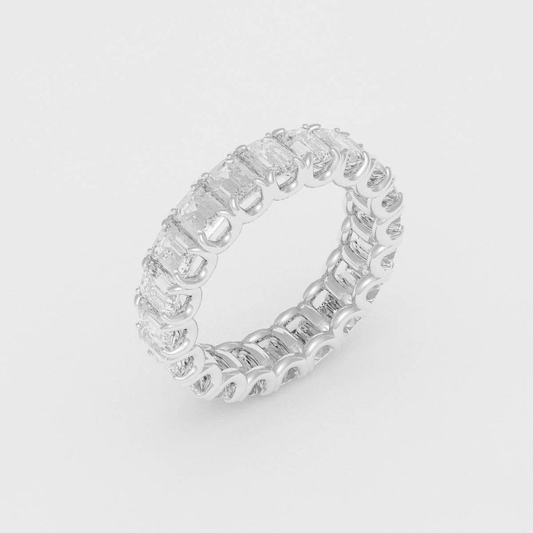 Emilio Jewelry 5.00 Carat Emerald Cut Diamond Eternity Platinum Band For Sale 1