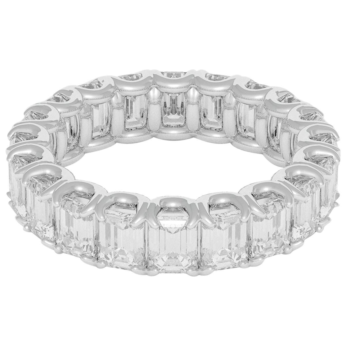 Emilio Jewelry 5.00 Carat Emerald Cut Diamond Eternity Platinum Band
