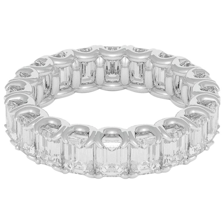 Emilio Jewelry 5.00 Carat Emerald Cut Diamond Eternity Platinum Band For Sale