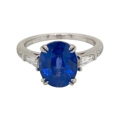 Emilio Jewelry 5.07 Carat Certified Ceylon Sapphire Diamond Ring