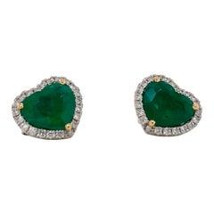 Emilio Jewelry 5.23 Carat Certified Vivid Green Emerald Heart Earrings