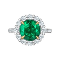 Emilio Jewelry 5.46 Carat Certified Colombian Emerald Diamond Ring