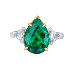 Emilio Jewelry 5.49 Carat Pear Shape Emerald Diamond Ring