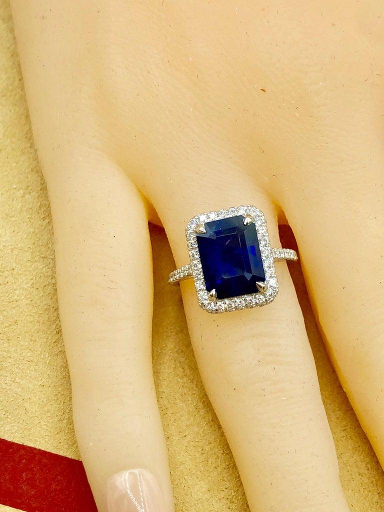 Emilio Jewelry 5.71 Carat Ceylon Sapphire Diamond Ring For Sale 6