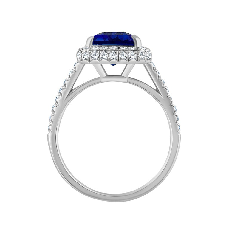Emilio Jewelry 5.71 Carat Ceylon Sapphire Diamond Ring  This amazing ring is unique and well thought out before Emilio designed it! Most women today want a ring that is striking, yet humble enough to wear to perform everyday errands. This ring is