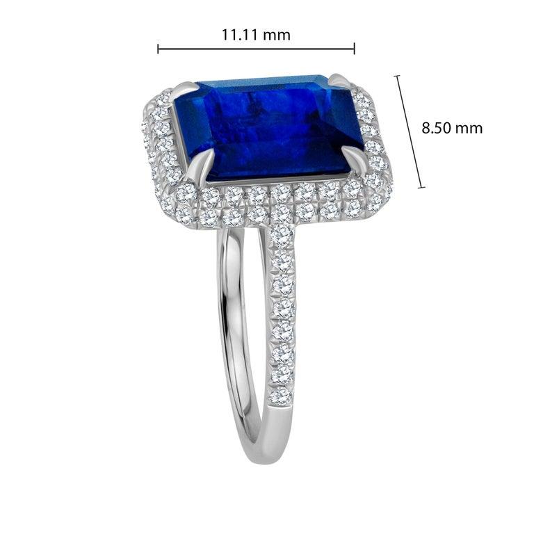 Women's or Men's Emilio Jewelry 5.71 Carat Ceylon Sapphire Diamond Ring For Sale