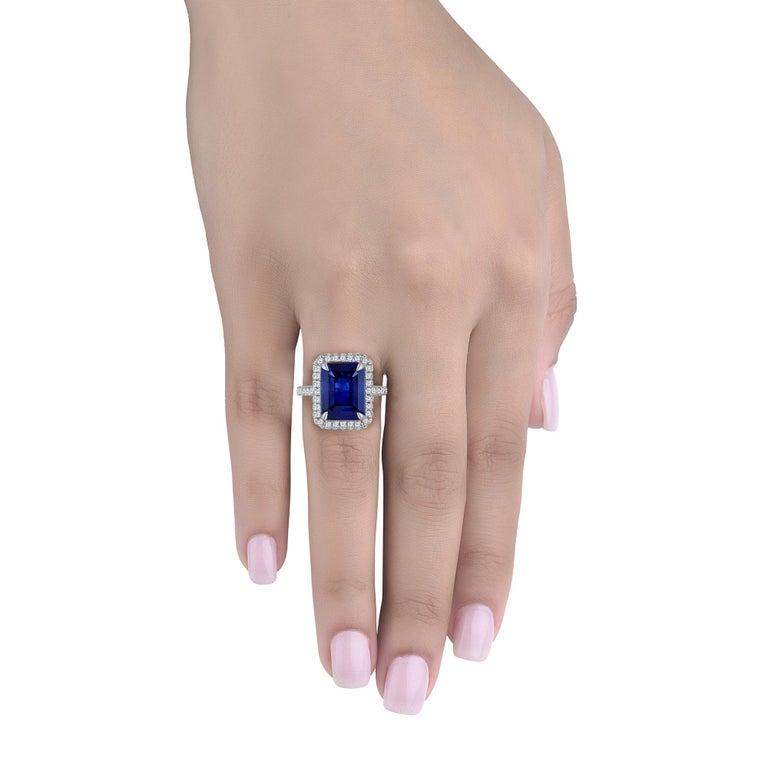 Emilio Jewelry 5.71 Carat Ceylon Sapphire Diamond Ring For Sale 2