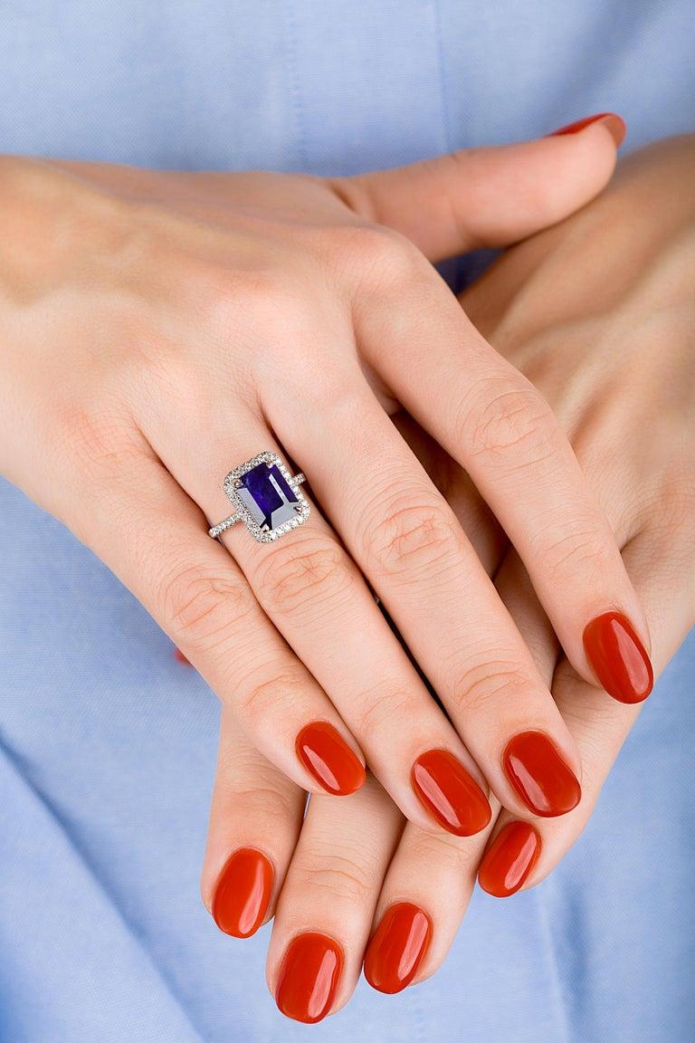 Emilio Jewelry 5.71 Carat Ceylon Sapphire Diamond Ring For Sale 1