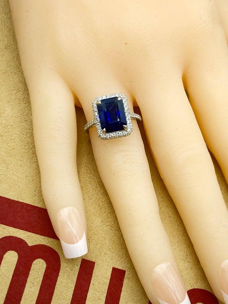 Emilio Jewelry 5.71 Carat Ceylon Sapphire Diamond Ring For Sale 5