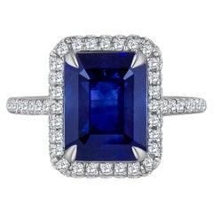 Emilio Jewelry 5.71 Carat Ceylon Sapphire Diamond Ring