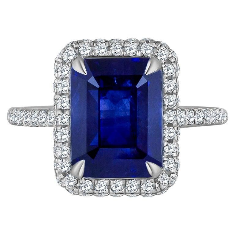 Emilio Jewelry 5.71 Carat Ceylon Sapphire Diamond Ring For Sale