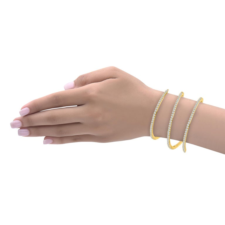Emilio Jewelry 5.87 Carat Stretchable Yellow Gold Cuff In New Condition For Sale In New York, NY