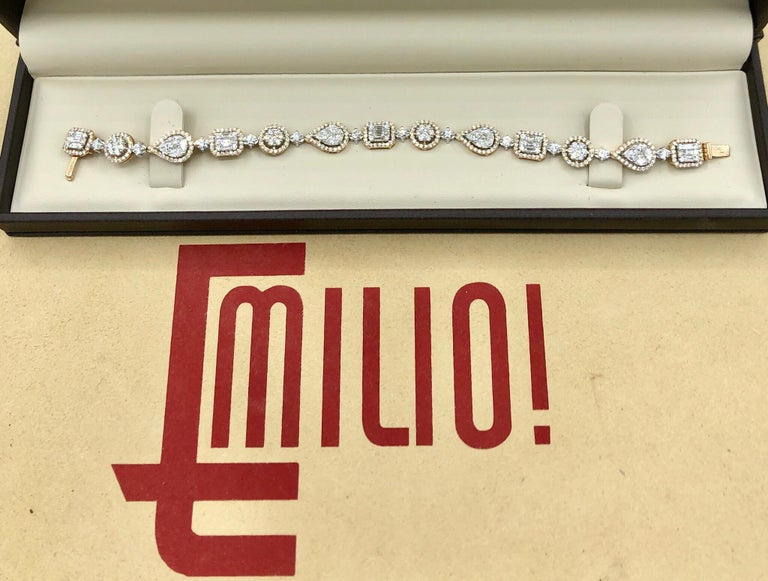 This amazing bracelet is also available to order in 18k white gold. It was well thought out before Emilio designed it! Hand made in the Emilio Jewelry Factory. Here are the details Metal: 18k Natural Diamonds: 5.92 carats mixed shapes including