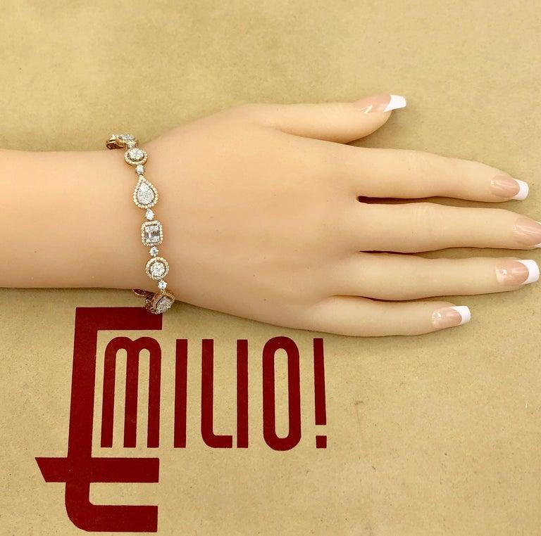 Women's Emilio Jewelry 5.92 Carat Fancy Diamond Bracelet For Sale