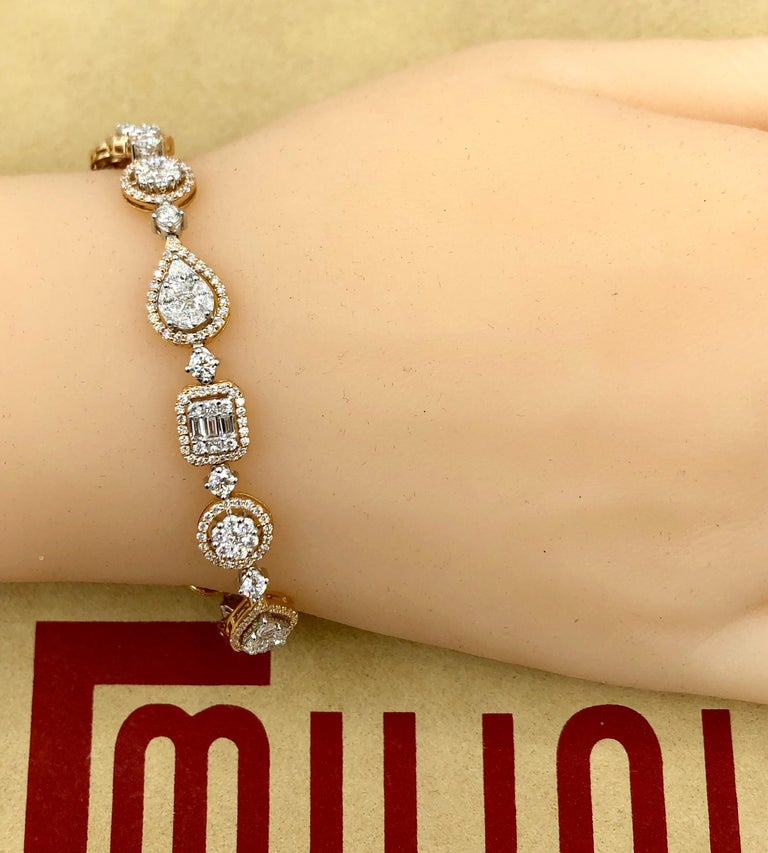 Emilio Jewelry 5.92 Carat Fancy Diamond Bracelet For Sale 1