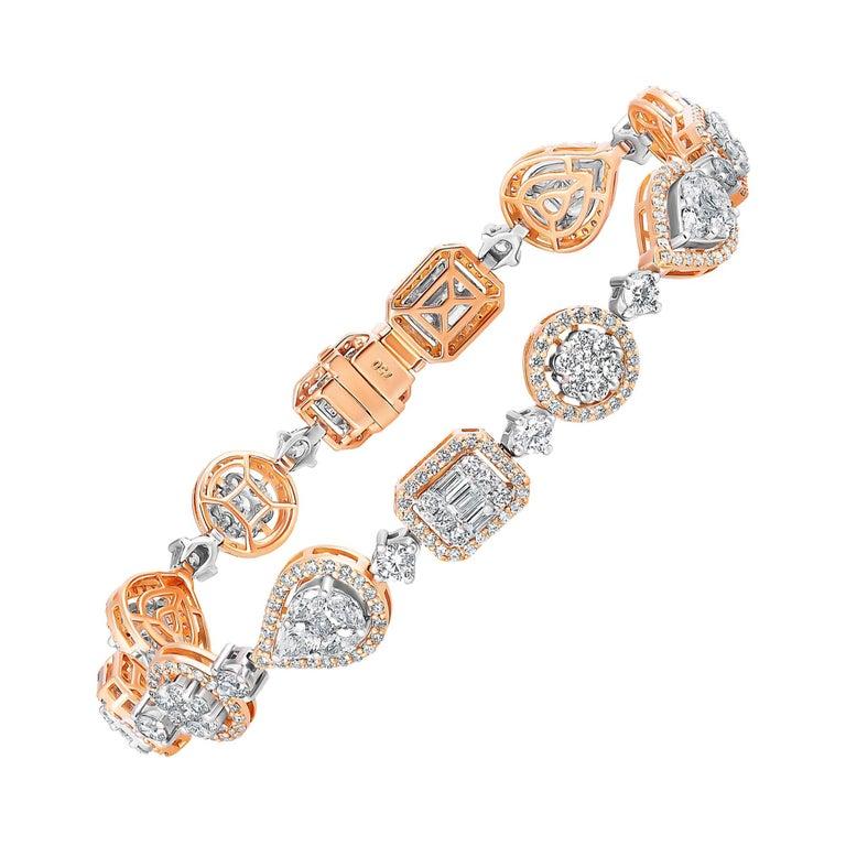 Emilio Jewelry 5.92 Carat Fancy Diamond Bracelet For Sale