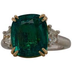 Emilio Jewelry 6.00 Carat Certified Emerald Diamond Ring