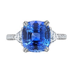 Emilio Jewelry 6.00 Carat Certified Untreated Ceylon Sapphire Ring