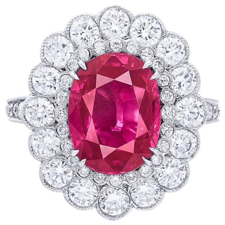 Emilio Jewelry 6.00 Carat No Heat Vivid Red Pigeon Blood Ruby For Sale
