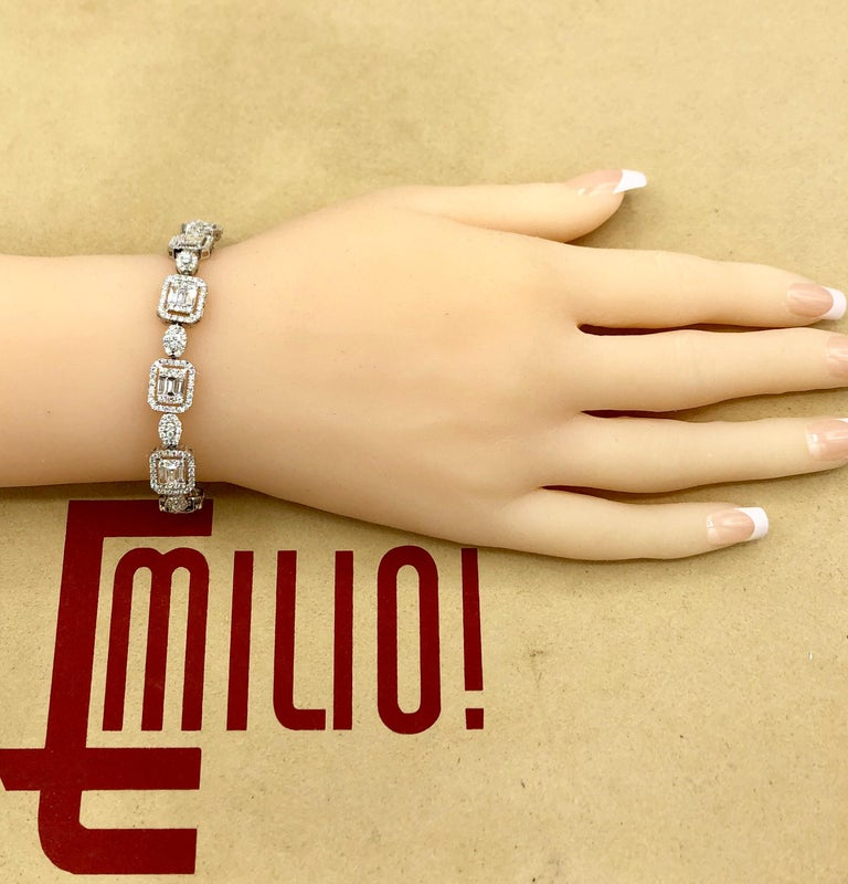 Women's or Men's Emilio Jewelry 6.07 Carat Fancy Diamond Bracelet For Sale