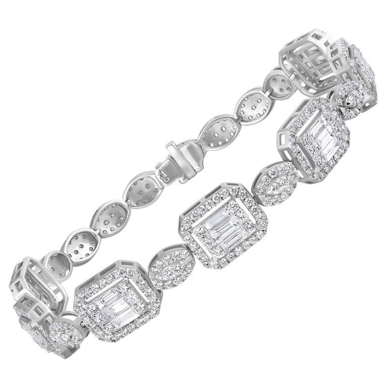 Emilio Jewelry 6.07 Carat Fancy Diamond Bracelet For Sale